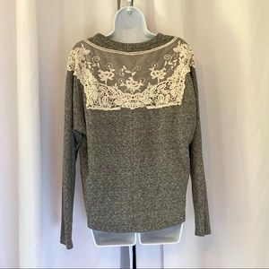 ANTHROPOLOGIE LACE BACK DETAIL SWEATSHIRT